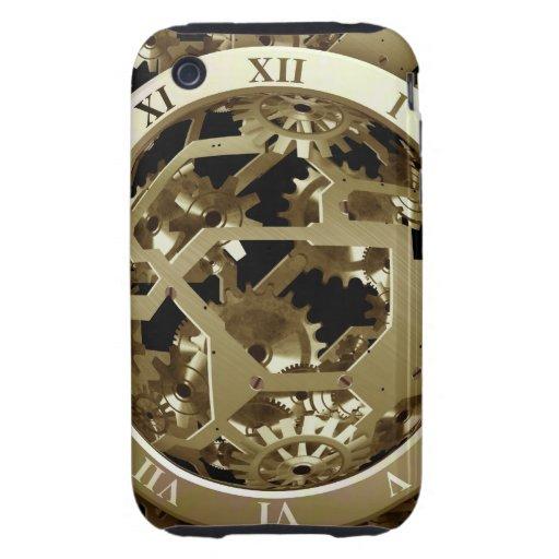 Regalos mecánicos de oro de Steampunk de los Tough iPhone 3 Fundas