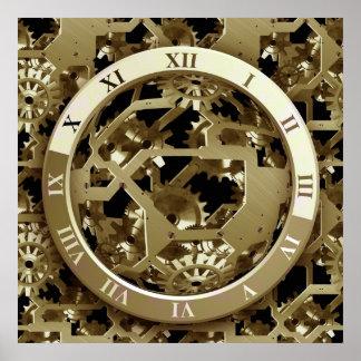 Regalos mecánicos de oro de Steampunk de los reloj Impresiones