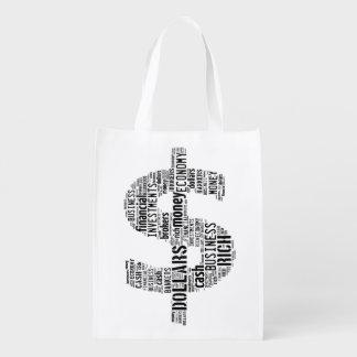 Regalos mecanografiados dinero del negocio del bolsas de la compra