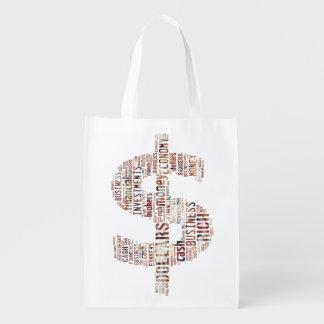 Regalos mecanografiados dinero del negocio del bolsas para la compra