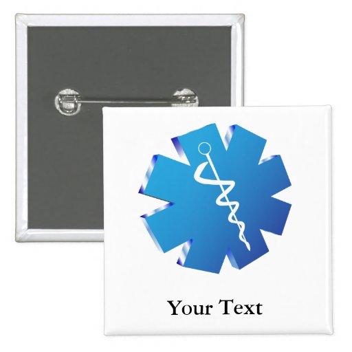 Regalos médicos del caduceo azul pin cuadrada 5 cm