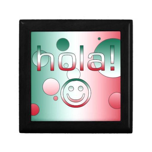 Regalos mexicanos: Hola/Hola + Cara sonriente Joyero Cuadrado Pequeño