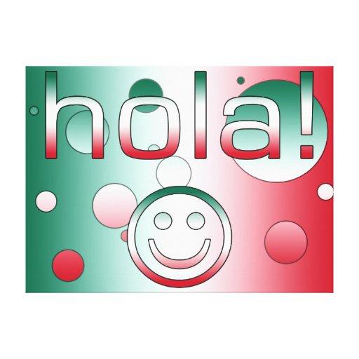Regalos mexicanos: Hola/Hola + Cara sonriente Lona Envuelta Para Galerias