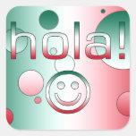 Regalos mexicanos: Hola/Hola + Cara sonriente Pegatinas Cuadradases Personalizadas