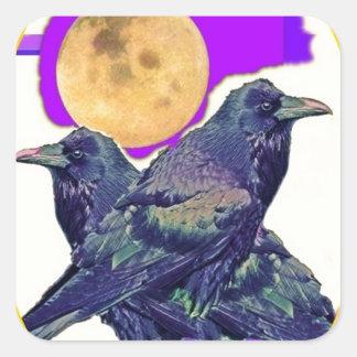 Regalos místicos de la luna del cuervo por Sharles Pegatina Cuadrada