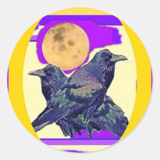 Regalos místicos de la luna del cuervo por Sharles Pegatina Redonda