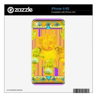 Regalos modelados púrpura del jardín del iris del iPhone 4 skin