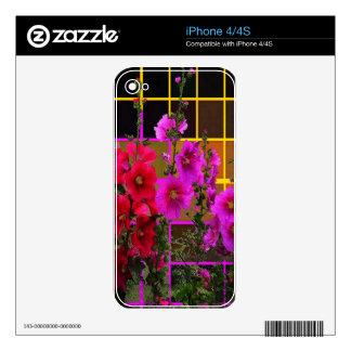 Regalos modelados Umber del jardín del Hollyhock Calcomanías Para El iPhone 4