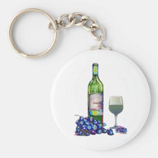 Regalos modernos del arte del vino y de las uvas llaveros personalizados