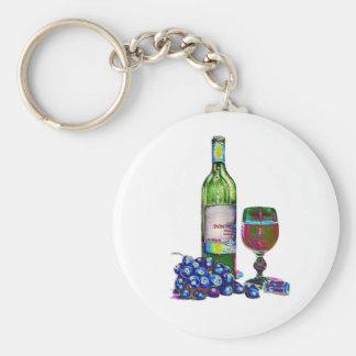 Regalos modernos del arte del vino y de las uvas llaveros