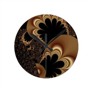 Regalos negros del arte del fractal del pétalo de  reloj de pared