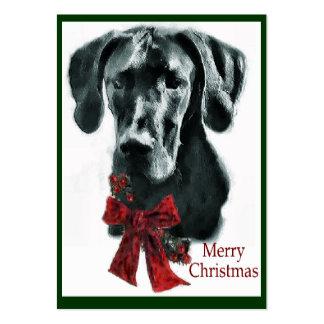 Regalos negros del navidad de great dane tarjetas de visita grandes