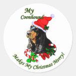 Regalos negros y del moreno del Coonhound del Pegatinas Redondas