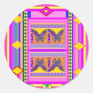 Regalos occidentales del diseño de la mariposa de etiquetas redondas