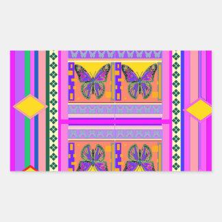 Regalos occidentales del diseño de la mariposa de rectangular pegatina