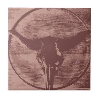 Regalos occidentales del vaquero del cráneo de Bul Azulejo Cuadrado Pequeño