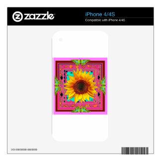 Regalos occidentales Púrpura-Rosados del girasol Calcomanía Para iPhone 4