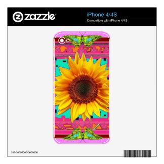 Regalos occidentales Púrpura-Rosados del girasol Skins Para iPhone 4S