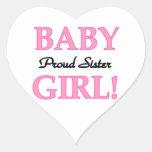 Regalos orgullosos de la hermana de la niña pegatinas de corazon personalizadas