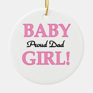 Regalos orgullosos de la niña del papá adorno navideño redondo de cerámica
