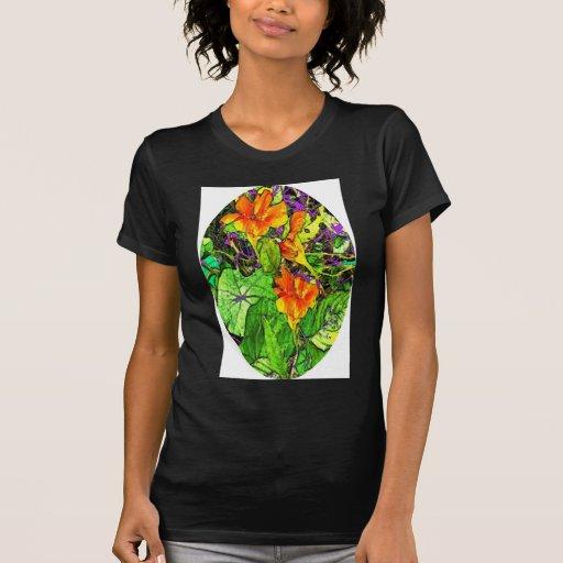 Regalos ovales del jardín de las capuchinas por camisetas