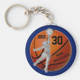 Regalos para el equipo de baloncesto de los chicas llavero redondo tipo pin