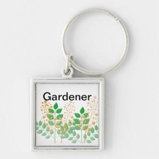 Regalos para los jardineros llavero cuadrado plateado