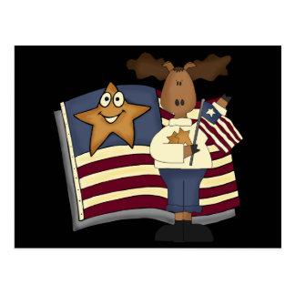 Regalos patrióticos de los alces para ella postal