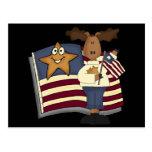 Regalos patrióticos de los alces para ella postales