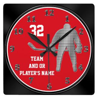 Regalos personalizados del equipo de hockey SU Reloj Cuadrado