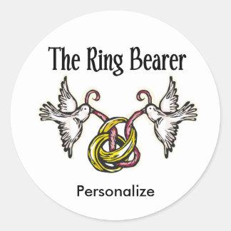 Regalos personalizados del portador de anillo pegatina redonda