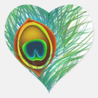 Regalos personalizados diseño del pavo real pegatina en forma de corazón