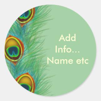 Regalos personalizados diseño del pavo real pegatina redonda