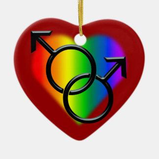 Regalos personalizados ornamento del amor del arco adorno navideño de cerámica en forma de corazón