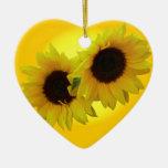 Regalos personalizados ornamento del girasol del adorno navideño de cerámica en forma de corazón