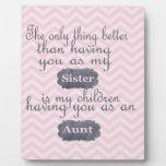 Regalos personalizados para la hermana o la tía placa para mostrar