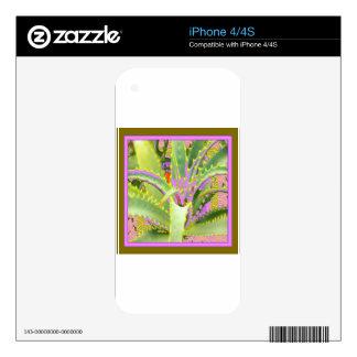 Regalos Púrpura-Rosado-Verdes del agavo de la MOD Calcomanías Para iPhone 4S