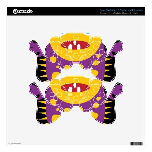 Regalos púrpuras amarillos de la criatura del mons mando PS3 calcomanía