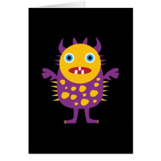 Regalos púrpuras amarillos de la criatura del mons tarjetas