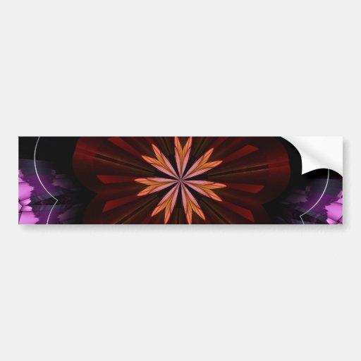 Regalos púrpuras anaranjados marrón del arte del f etiqueta de parachoque