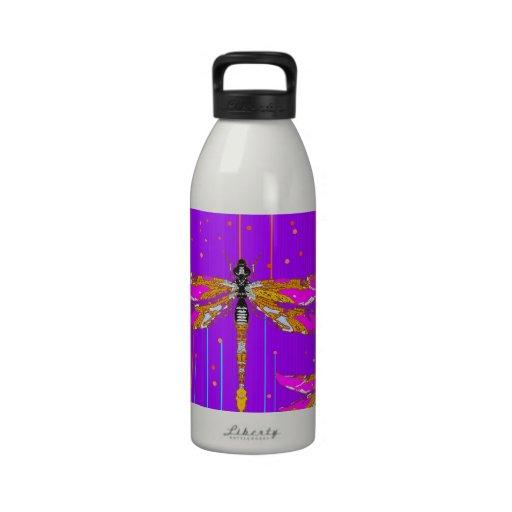 Regalos púrpuras de la lluvia de la libélula por S Botella De Agua