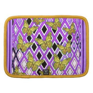 Regalos púrpuras de las mariposas amarillas por organizadores