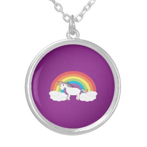 Regalos púrpuras del unicornio del arco iris pendientes personalizados