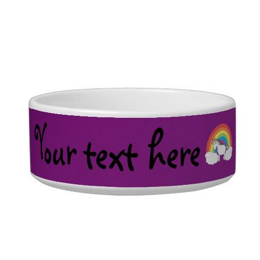 Regalos púrpuras del unicornio del arco iris tazón para gato
