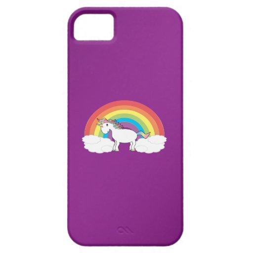 Regalos púrpuras del unicornio del arco iris iPhone 5 Case-Mate coberturas