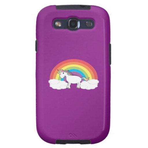 Regalos púrpuras del unicornio del arco iris galaxy SIII coberturas