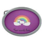Regalos púrpuras del unicornio del arco iris hebillas de cinturon ovales
