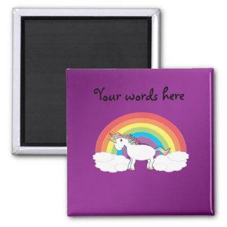 Regalos púrpuras del unicornio del arco iris imán cuadrado