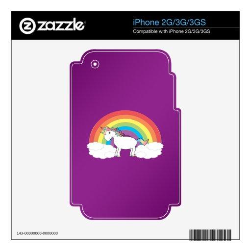 Regalos púrpuras del unicornio del arco iris iPhone 3G calcomanías