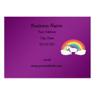 Regalos púrpuras del unicornio del arco iris plantilla de tarjeta personal